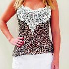 Womens Leopard Printed Lace Vest Crop Tank Tops Stretch Fit Spaghetti Strap Cami