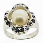 .925 Sterling Silver Pearl & Sapphire ring Size 5.5 US;7.5 US