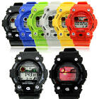 New Waterproof Colorful Lights Sports LED Analog Digital Alarm Wrist Watch