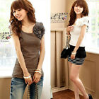 Women Elegant Short Sleeve Casual Applique Summer Office T-Shirt Top Tee Blouse
