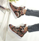 2015 fashion Print high top sneakers lace Up ankle boots plush lined warm winter