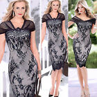 FREE P&P Sexy Women V-Neck Lace Cap Sleeve Bodycon Formal/Casual Prom Club Dress