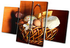 Food Kitchen Bread Cheese MULTI CANVAS WALL ART Picture Print VA