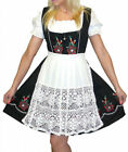 DIRNDL Trachten Oktoberfest DRESS 3 pc SHORT BLACK German Sun Garden Swing Party