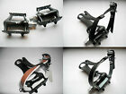 Racing Bike Alloy Road Pedals - Resin Toe clips & Nylon or Leather Strap Option