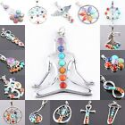 7 Mix Stone Healing Chakra Gemstone Point Bead Pendant Flower Heart Crown Wings