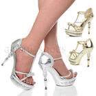 WOMENS LADIES HIGH BALL HEEL PLATFORM BOW T-BAR EMBELLISHED SANDALS SIZE