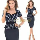 Women Vintage Polka Dot Peplum Party Business Work Cocktail Bodycon Pencil Dress