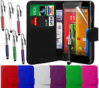 PU Leather Wallet Flip Case Cover, Pen with LCD Film For Motorola Moto G 4G LTE