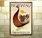 Pan Am Norway Vintage Airline Travel Poster [6 sizes matte+glossy avail]