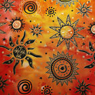 Celestial Batik Cotton Fabric Metallic Gold Suns & Stars on Fuchsia Orange Red