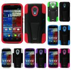 For Motorola Moto G 2nd Gen Hybrid Kickstand Hard Soft Cover Case Accessory
