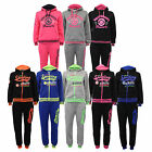 Girls Tracksuit Kids Jacket Cuffed Bottoms Hooded Top 2 Piece Jogging Winter