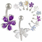 flower crystal belly navel button ring bar body piercing 9FRW-PICK STYLES&COLOUR