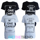 Womens Celeb Inspired 'No One Cares' Perfume Print Slogan Oversized Tshirt Top