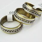 Top 316L Stainless Steel Frosted Chain Gold Ring for Women Mens Wholesale Lots
