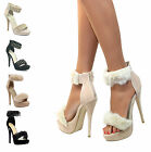 WOMENS ANKLE STRAP CUFF STILETTO HIGH HEEL PEEP TOE SANDALS STRAPPY PARTY SHOES