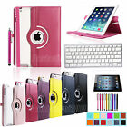 For Apple iPad 2/3/4 360 Rotating Stand PU Leather Case Cover+Bluetooth Keyboard