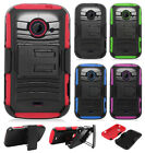 ZTE Whirl 2 Z667 Hybrid Combo Holster KICKSTAND Rubber Case Cover + Screen Guard
