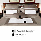 NEW YORK GOLD Quilt Cover Set  - 350 TC Cotton - QUEEN, CUSHION