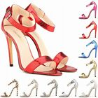 Womens Animal Grain Toe High Heels Shoes Stilettos Sandals Size 2 3 4 5 6 7 8 9