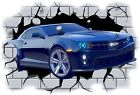 Huge 3D Camero Crashing through wall View Wall Sticker Mural Decal Film 7