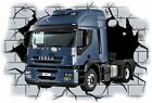 Huge 3D Iveco Truck Crashing through wall View Wall Sticker Mural Decal Film 37