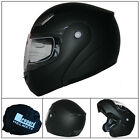 LEO-717 Flip Up Front Matt Black Motorcycle Helmet Crash Scooter Motorbike