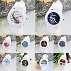 Womens White Silicone Rubber Band Quartz Colourful Printed Round Dial Wristwatch