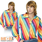 Rainbow Disco Shirt Mens 1970s Fancy Dress Adult 70s Costume Top Accessory