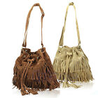 Faux Suede Leather Fringe Tassel Women Cross Body Messenger Bucket Bag Handbags