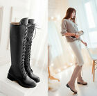 US4-11 women knight boot flat Lace Up zip side PU leather knee high boots combat