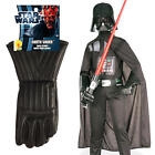 Darth Vader + Gloves Kids Fancy Dress Star Wars Villain Boys Costume Outfit NEW