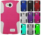 For LG Verizon Transpyre MESH Hybrid Silicone Rubber Skin Case +Screen Protector