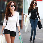 XMAS SALE SEXY Women's Lace Cotton Sexy Long Sleeve T Shirt Tops Blous Pullover