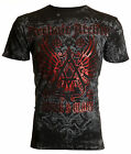 ARCHAIC by AFFLICTION Mens T Shirt ACHILLES Cross Wings BLACK Biker MMA 40 NWT
