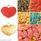 "5PCs Heart Shape Alloy Charms Pendants Gold Plated 12mm x13.5mm( 4/8"" x 4/8"")"