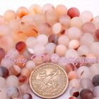 "Round Chalcedony Agate Frosted Matte Finish Gemstone Beads Strand 15"" 6,8,10mm"