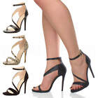WOMENS LADIES ANKLE CROSS STRAP PARTY AYSYMMETRIC HIGH HEEL SANDALS SHOES SIZE