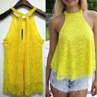 Womens Ladies Halterneck Sleeveless Cut Out Swing Lace Tank Tops Blouse Shirts