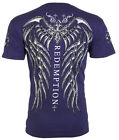Archaic Affliction Mens S/S T-Shirt SPINE WINGS Tattoo NAVY BLUE Biker M-3XL $40 image