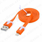 FLAT Noodle 8 Pin To USB Data Sync Charger Cable Cord For i Phone 5 S C iOS 8