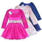 Toddler Girl Dress Floral Lace Layers Skirt Wedding Birthday Party Clothes Z2-22