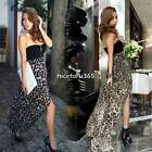Sexy Womens Chiffon Bustier Leopard Party Maxi Long Cocktail Evening Dress N4U8
