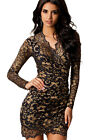 New Women Sexy Dress Slim Hip-hugging Lace Flounced V-neck Exquisite Lace Hot