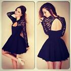 Sexy Women Floral Lace Backless Long Sleeve Slim Evening Party Club Mini Dress