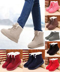Women's Fur Lined Winter Lace Up Martin Boots Ankle Snow Boot Fashion Flat Shoes