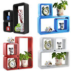 Wall Rectangle Set 3 Floating Storage Wall Shelves Book DVD Display Cubes Shelf