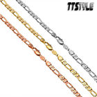 TT Gold Filled Figaro 3+1 Chain Necklace Width 2-6mm Length 35-60cm NEW