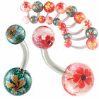 glitter acrylic ball belly navel bar button piercing ring 9GCR-PICK SIZE&STYLES